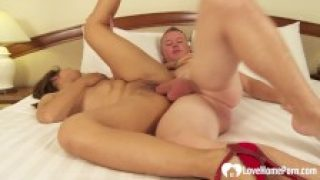 hot brunette likes to stroke and suck big cock