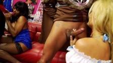 Busty Indian and Blonde Milf Shares Big Hard Cock and Get Cum Mouthful